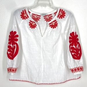 Madewell white red floral peasant top sz XS